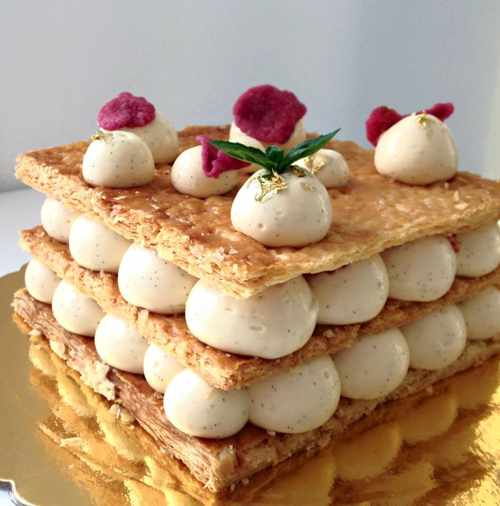 Mille-feuille with vanilla cream and fresh strawberries at N'ice cream Mykonos