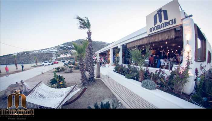 Monarch Restaurant & Beach Club at Kalo Livadi Mykonos photo from its website