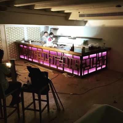 New bar construction at Kiku Mykonos at Cavo Tagoo photo from the Kiku Facebook page