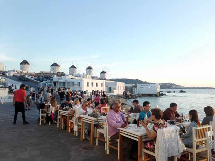 Nice n Easy Mykonos restaurant seaside dining at Little Venice photo shared on Facebook