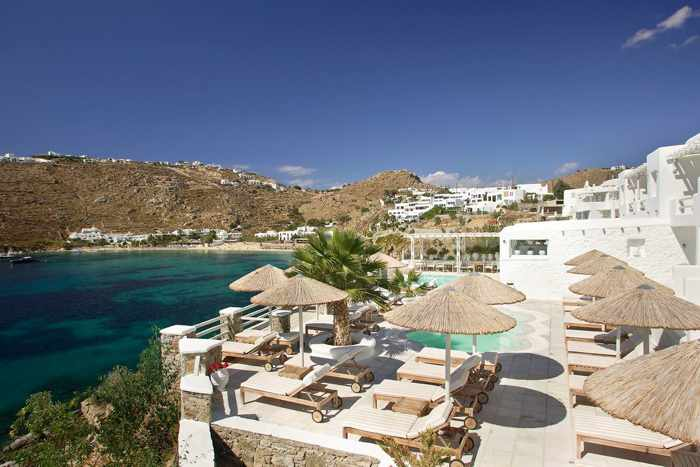 Nissaki Boutique Hotel Mykonos Facebook page photo of its pool view of Psarou beach and bay