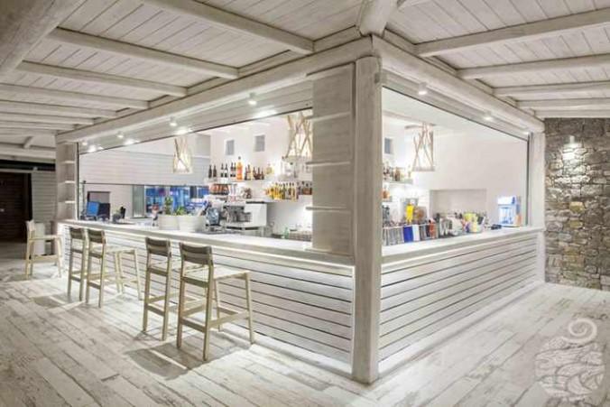 One of three bars at Panormos Mykonos Beach Resort