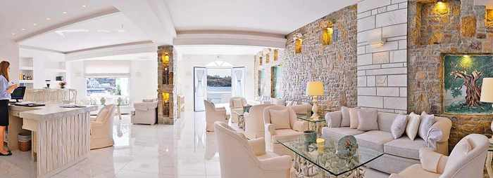Petinos Beach Hotel Mykonos Facebook page photo of its renovated lobby