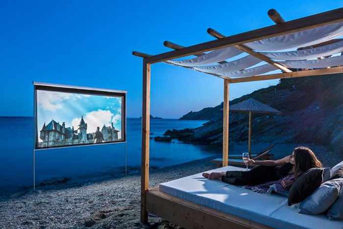 Private beach cinema at Casa del Mar Mykonos photo 01 from SLH Facebook page