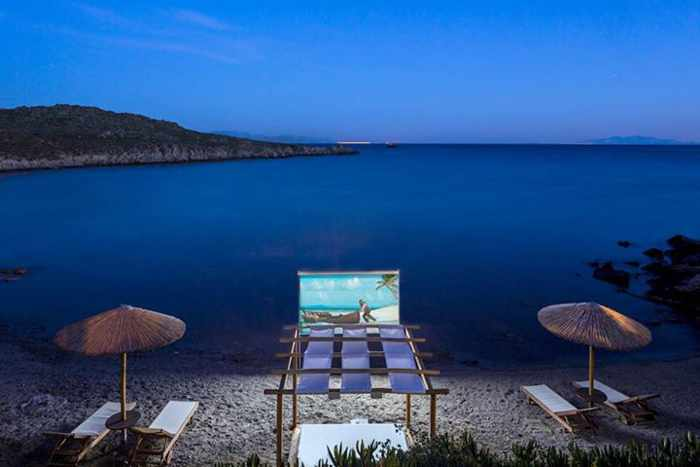 Private beach cinema at Casa del Mar Mykonos photo 02 from SLH Facebook page