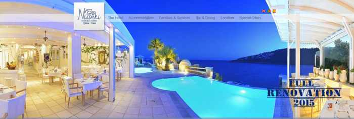 Screen capture of the Nissaki Boutique Hotel Mykonos website homepage