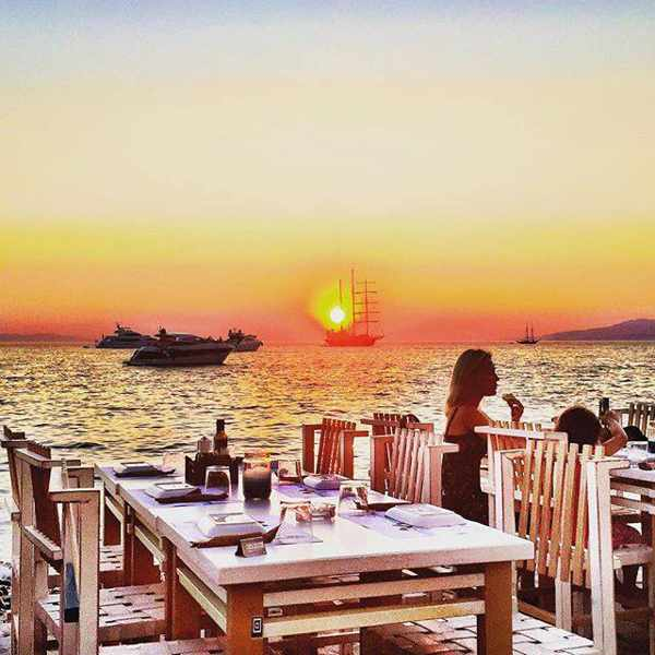 Sunset view image from Nice n Easy Mykonos restaurant photo from Facebook