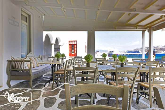 Vegera Mykonos outdoor dining terrace photo from the restaurant's Facebook page