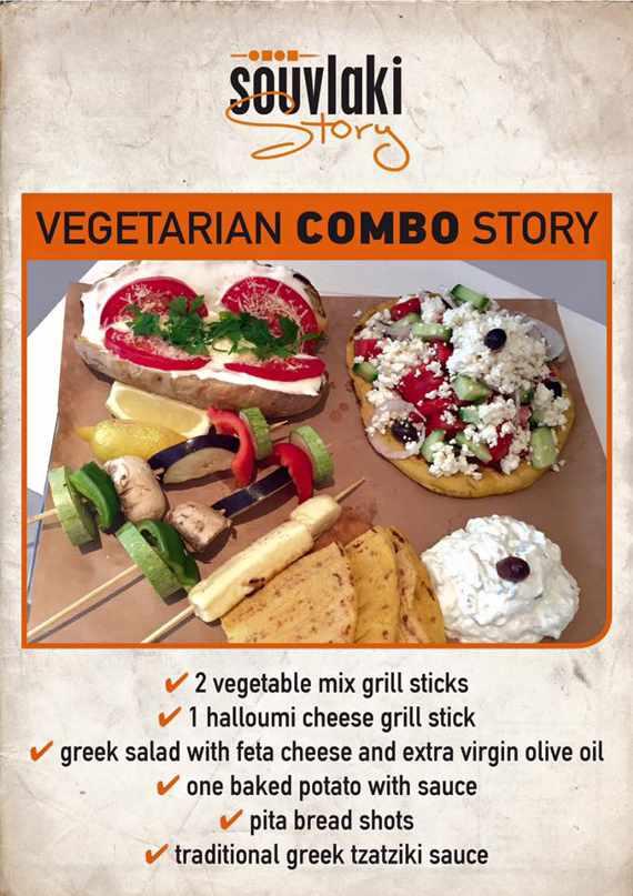 Vegetarian combo story on the menu at Souvlaki Story Mykonos