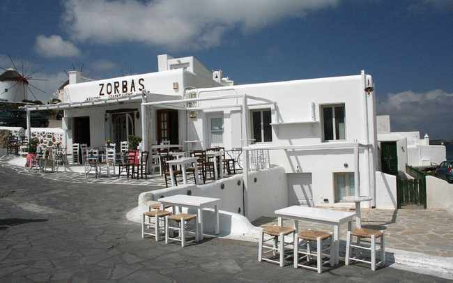 Zorbas Bar Mykonos exterior photo from the Zorbas Facebook page