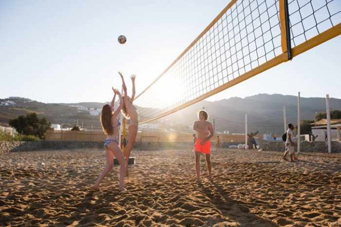 Panormos Mykonos resort facebook photo of its volleyball courts