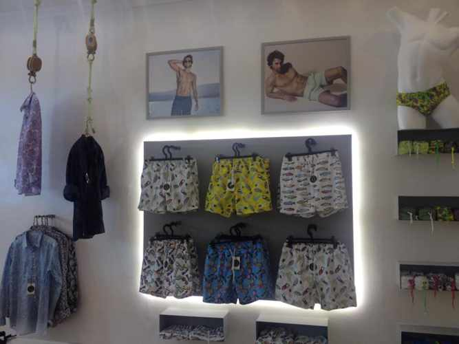 men's swimwear display at Lara Modamare shop in Mykonos