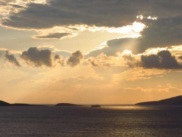 Aqua Spirit ferry sailing past Andros