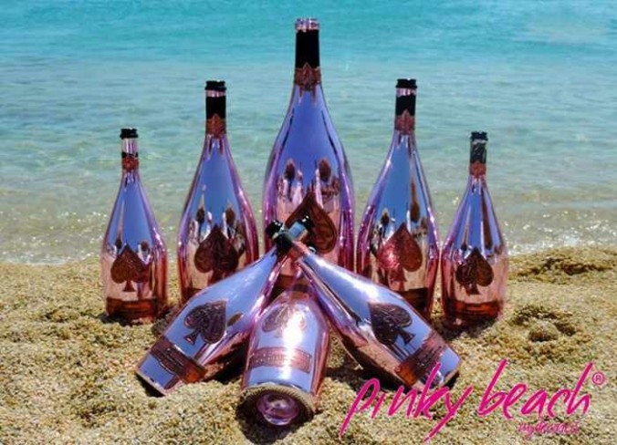 Armand de Brignac champagne bottles at Pinky Beach Mykonos