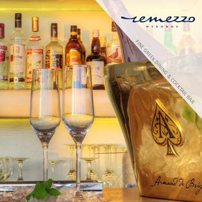 Armand de Brignac champagne bucket at Remezzo Mykonos restaurant and bar