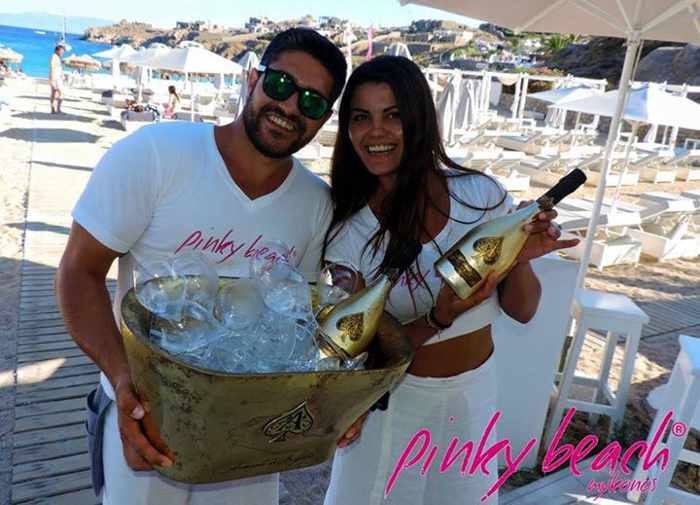 Armand de Brignac champagne photo from the Pinky Beach Mykonos Facebook page
