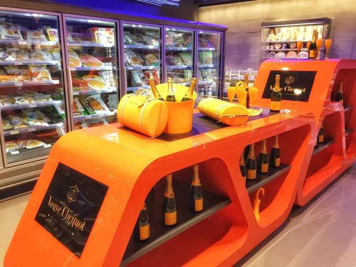 Facebook photo of a Veuve Cliquot champagne display at the Flora supermarket at Mykonos Town