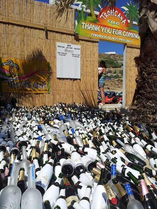 Lee Kyhe Hong Facebook photo of empty champagne bottles at Tropicana Club Mykonos