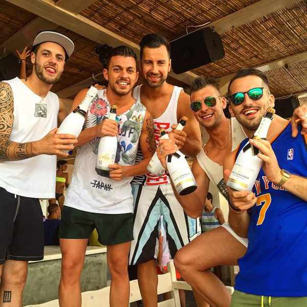 Manuel Tolleni Facebook photo of champagne at Tropicana beach club Mykonos