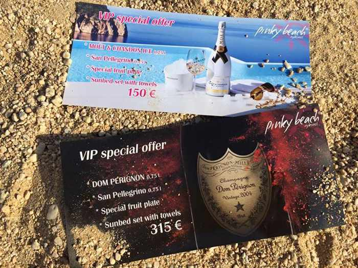 Pinky Beach Mykonos champagne special offers