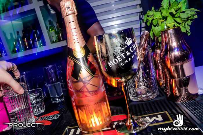 champagne at Project Mykonos nightclub seen in a Facebook photo by mykonooos.com