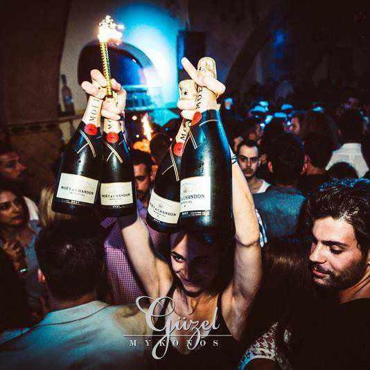 champagne at Guzel Stage club