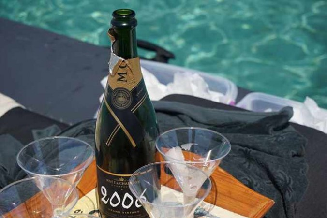 champagne photo from the Mykonos Rib Cruising Facebook page