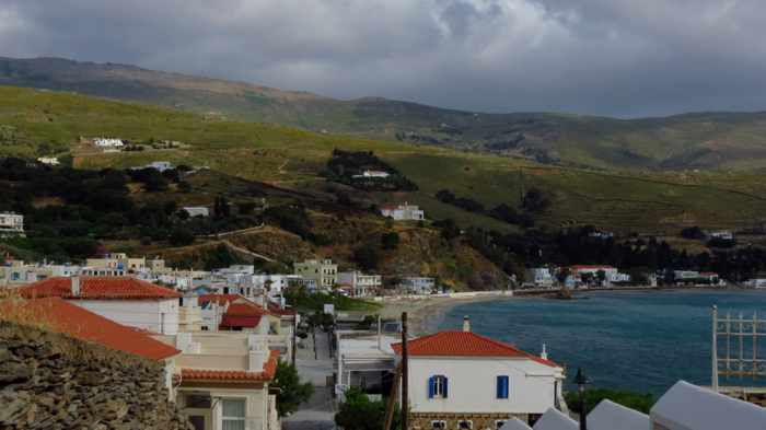 dark clouds above Andros Town