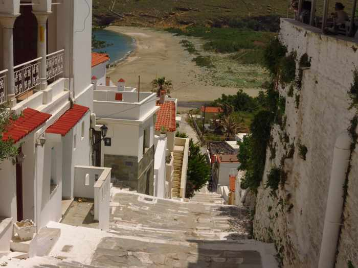 steps from Andros Town to Paraporti beach\