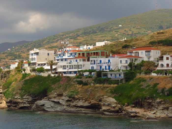 stormclouds above the Batsi resort area of Andros