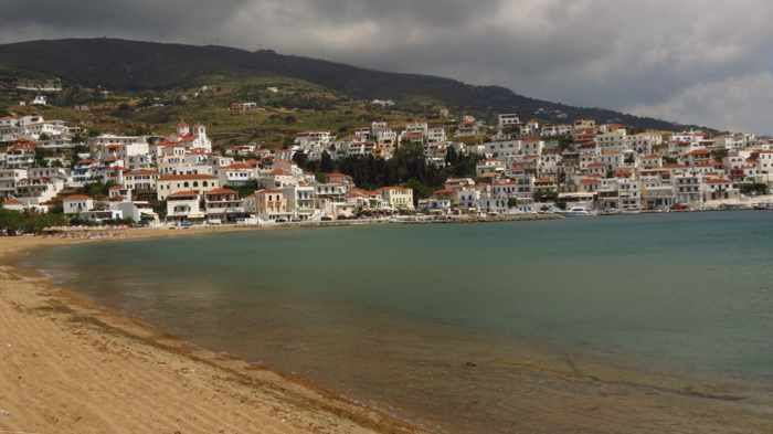 stormclouds over Batsi on Andros