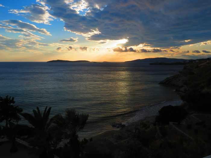 sunset view from Aneroussa beach hotel