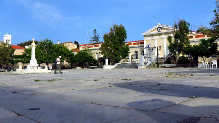 the main square in Andros Town