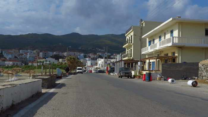 road at Nimborio Beach Andros Town