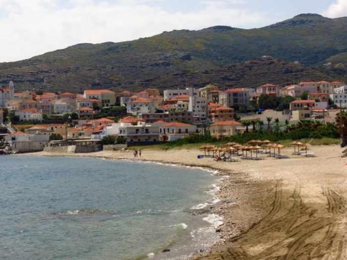 Chora beach at Andros Town