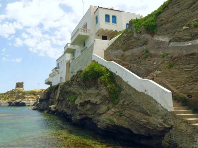 steps to the Plakoura seaside in Andros Town