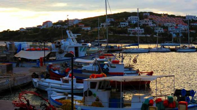 Batsi harbour at sunset