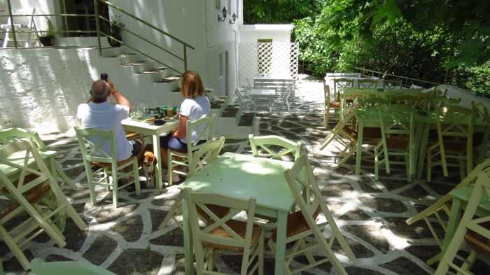 the patio at Drosia restaurant