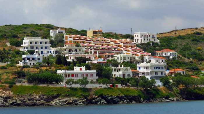 Hotels on a hill above Batsi bay