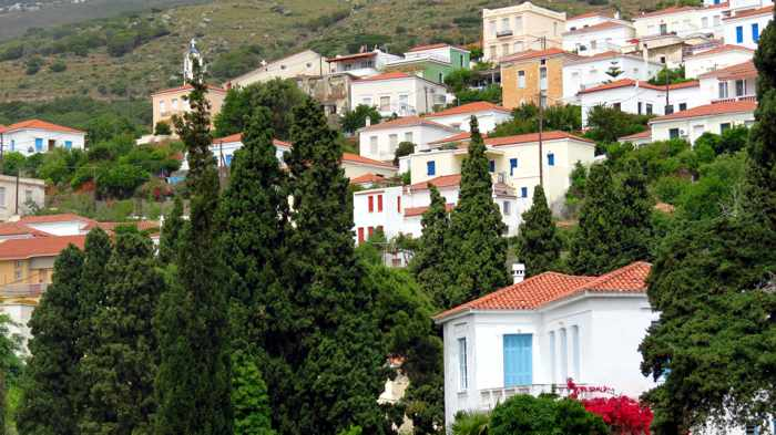 houses in Stenies village on Andros
