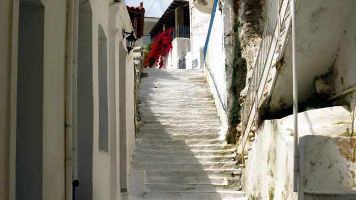 a street of steps in Batsi