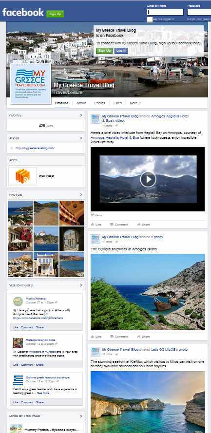 My Greece Travel Blog Facebook page screenshot