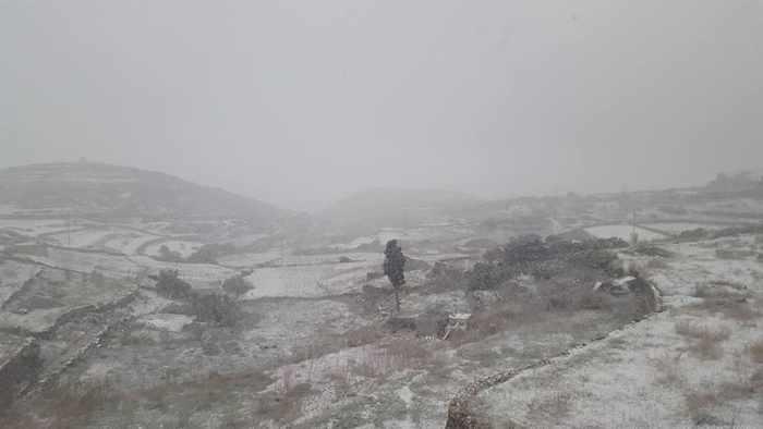 snow at Chora village Amorgos