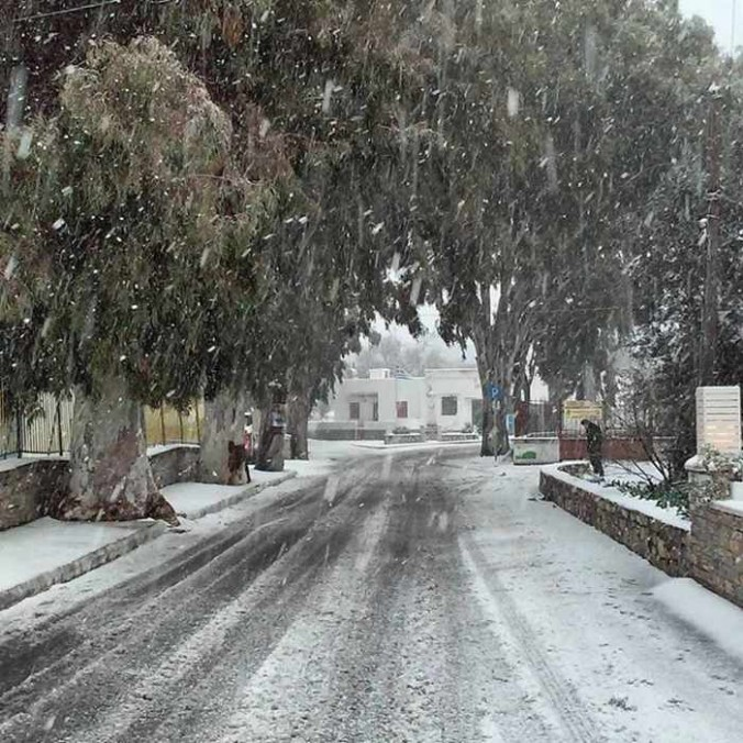 snow at Halki Naxos