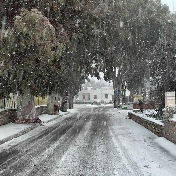 snow at Halki Naxos