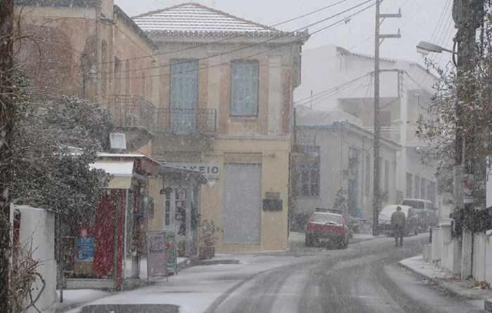 Snowflurries in Halki village on Naxos photo shared on Facebook by Petros Anamateros