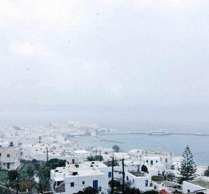 Mykonian Spiti facebook photo of snowflurry at Mykonos