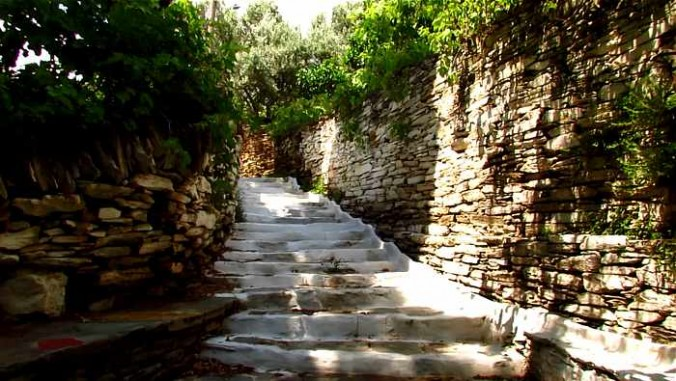 a hillside footpath in Batsi