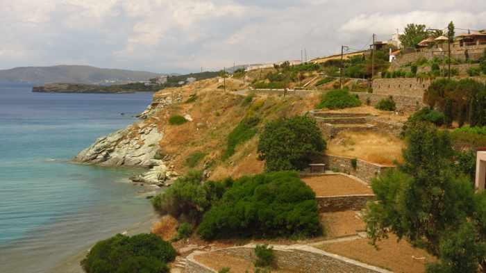 view from Aneroussa Beach Hotel