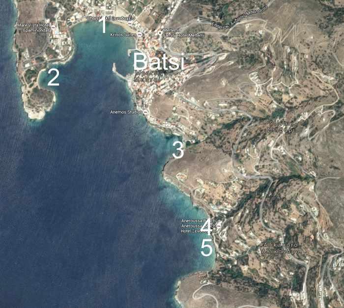Beach locations near Batsi Andros